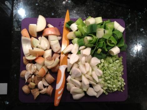 Grönsaker till tonkotsu-buljong